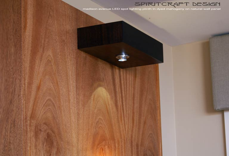Interior Design Accents - Mid-Century style bedroom headboard wall unit with LED spot lighting for Lincoln Park Chicago interior design client by Spiritcraft Furniture of East Dundee, Illinois