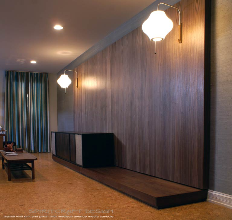 Interior Design Accents - Walnut hardwood mid century style wall unit, console and plinth in Elmhurst, Illinois by Spiritcraft Design Furniture of East Dundee, IL