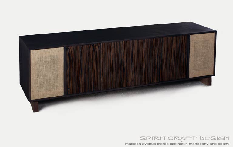 Interior Design Accents - Mid-Century Modern style media console in Mahogany and Ebony for Chicago client by Spiritcraft Design Furniture of East Dundee, Illinois