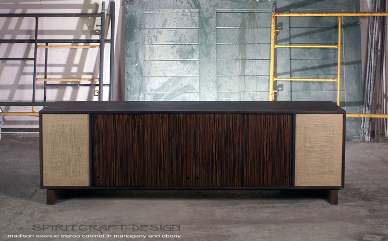Interior Design Accents - Mid-Century style stereo console - dresser for Chicago client by Spiritcraft Design Furniture of East Dundee, Illinois