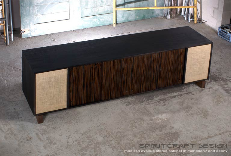 Interior Design Accents - Mid-Century style media console - sideboard for Chicago client by Spiritcraft Design Furniture of East Dundee, Illinois
