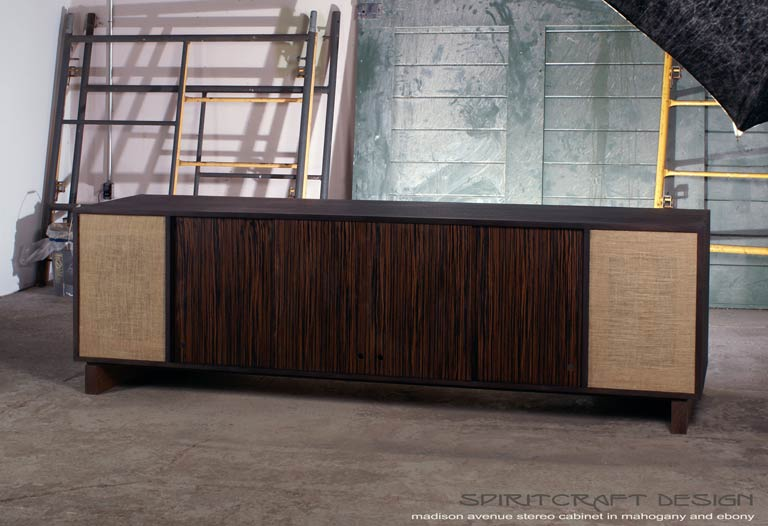 Interior Design Accents - Mid-Century style media console for Elmhurst interior design client by Spiritcraft Furniture of East Dundee, Illinois