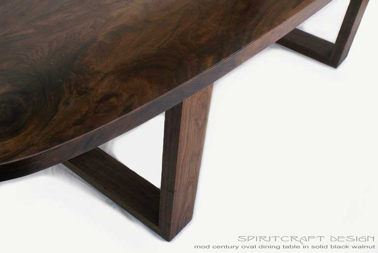 Interior Design Accents - Solid Walnut hardwood mid century style dining table in Evanston, Illinois by Spiritcraft Design Furniture of East Dundee, IL