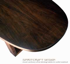 Interior Design Accents - Solid Black Walnut dining room table with open legs in a mid century influence for Chicago, North Shore area client by Spiritcraft Design Furniture of East Dundee, Illinois