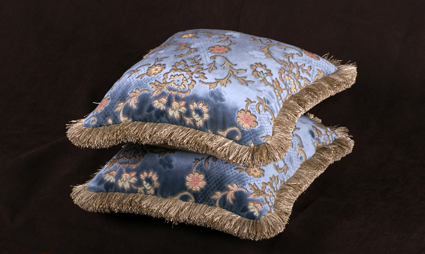Decorative Accent Pillows in Scalamandre Cut Velvet