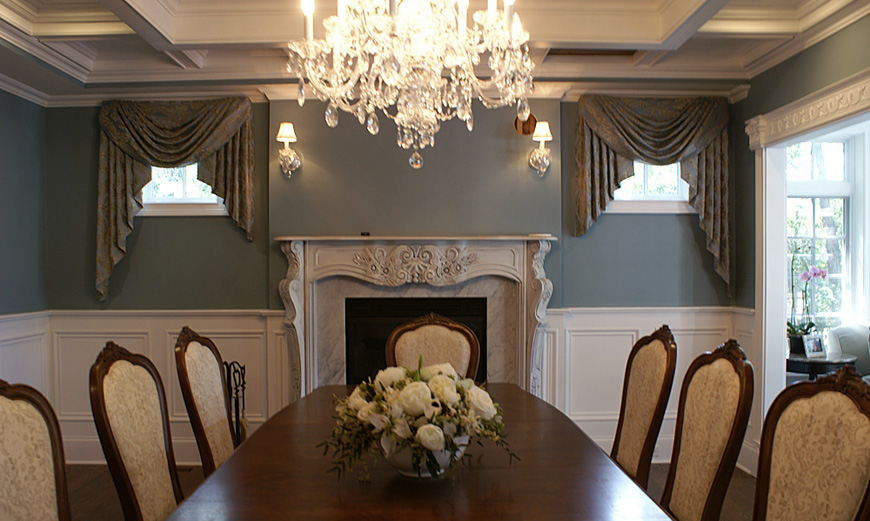 Illinois Dining Room with custom uphoolstered chairs, valance and swag custom window treatments.