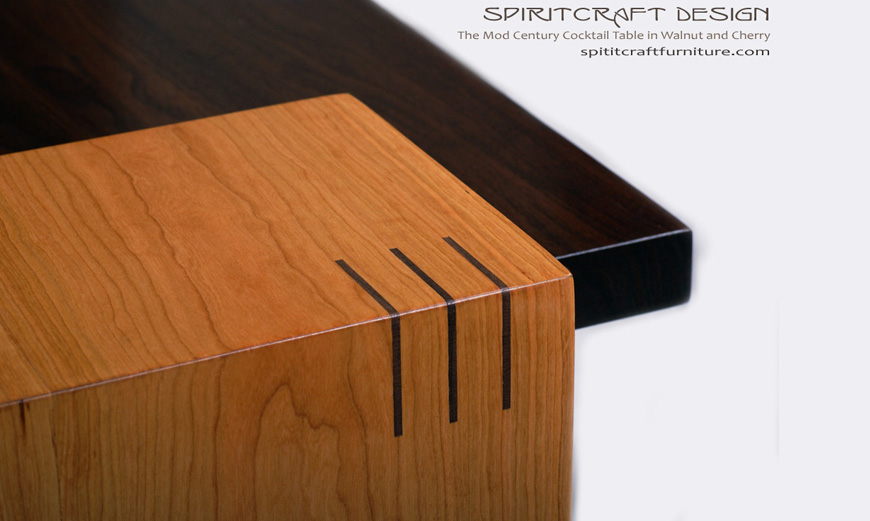 Mod Century Cocktail Table | Solid Walnut and Cherry Furniture