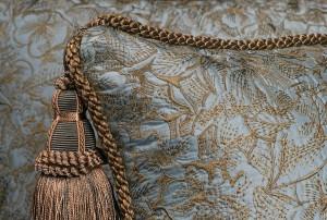 Pollack Swiss Silk Brocade Pillow with Kravet Design Cord Trim and Tassel by Spiritcraft Pillows