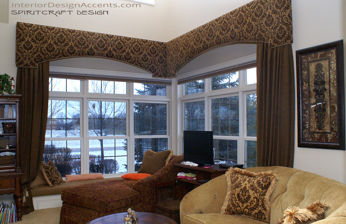 Cornice window treatments with drapery panels interior for Custom window designs