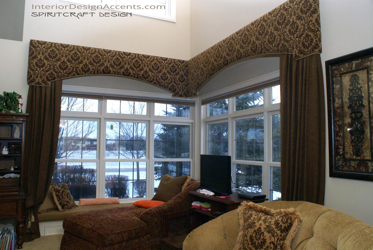 Cornice window treatments with drapery panels interior for Window treatment for large window