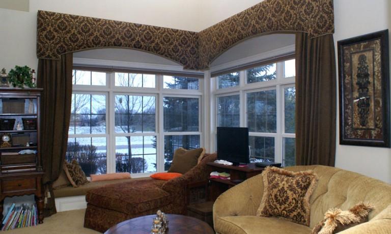 Cornice Window Treatments with Drapery Panels | Transitional Home Decor
