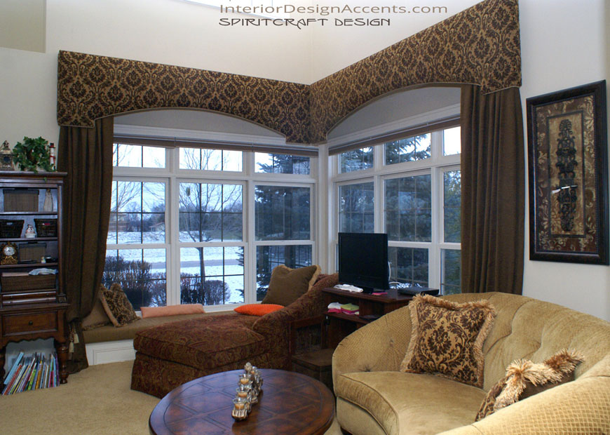 custom window treatments drapery panels and cornice treatments in Crystal Lake and East Dundee, IL