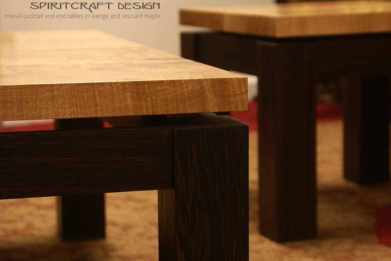 Manali Cocktail and End Tables in Solid Wenge and Maple