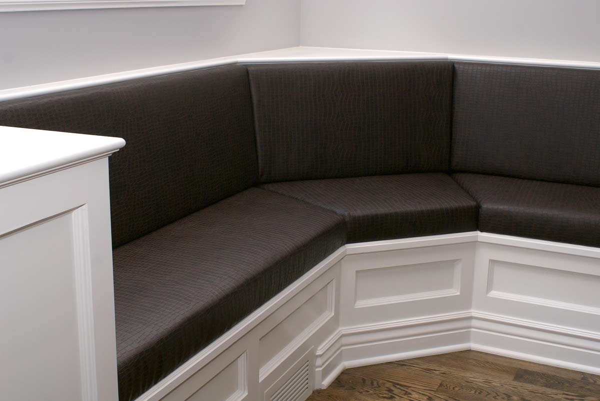 Custom upholstery seating and banquettes upholstered in East Dundee, IL for Naperville, IL client