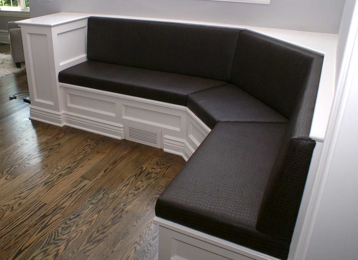 Custom upholstered banquettes crafted in East Dundee, IL for Naperville, IL client