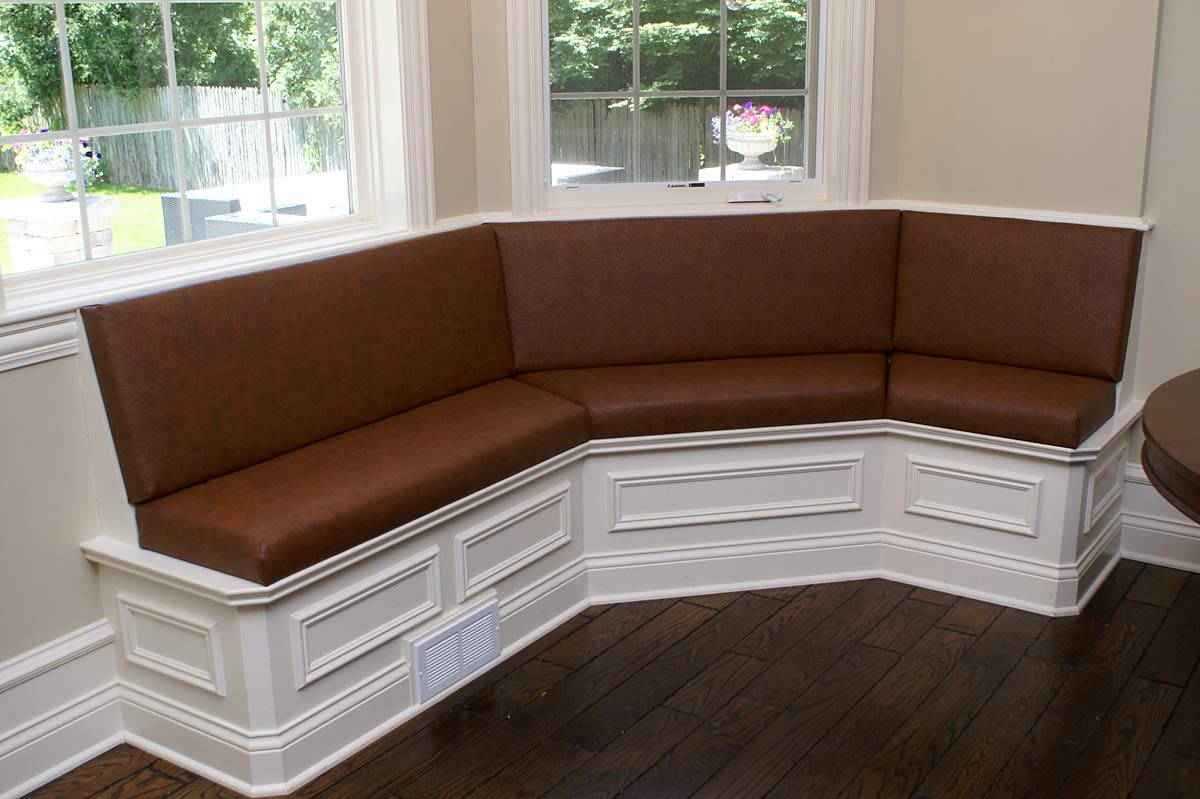 Custom upholstery and banquettes upholstered in East Dundee, IL for Naperville, IL client