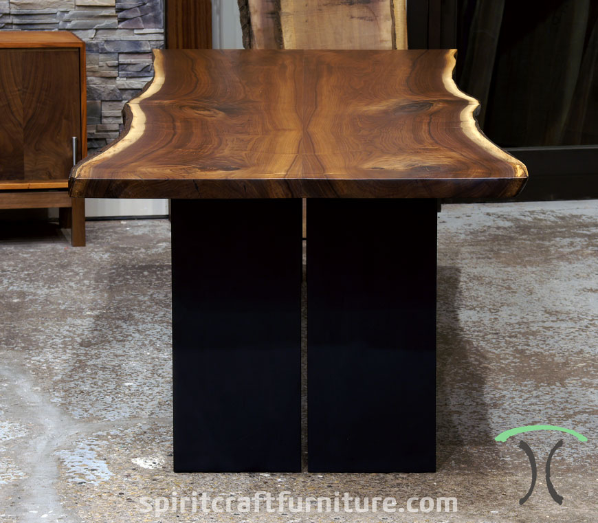 live edge black walnut dining table for california winery