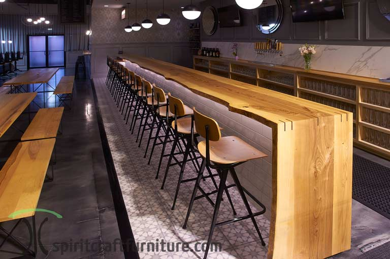 White Ash Commercial Live Edge Bar Top With Waterfall End
