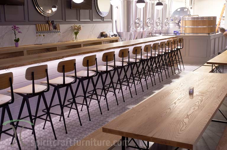 Ash restaurant tables and live edge bar tops at Chicago area restaurant brewery
