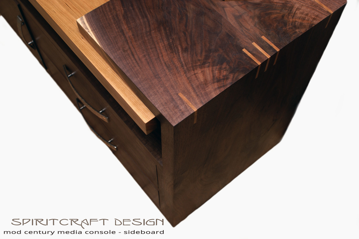 The Mod Century Media Console | Hardwood Entertainmant Center in Walnut and Cherry