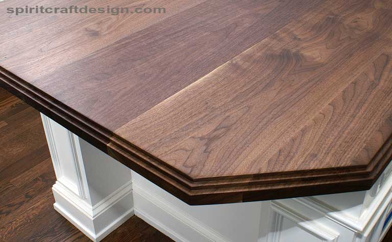 Custom solid Black Walnut kitchen island top in Glenview, Illinois