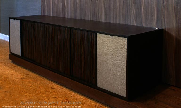 Transformational wall units and mid century influenced consoles as bold design statements