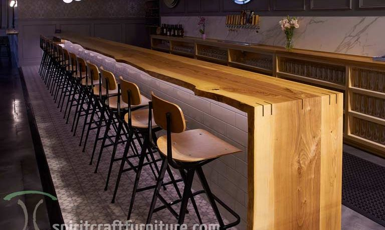 Live Edge Ash Bar Tops and Restaurant Tables at Chicago Brewery